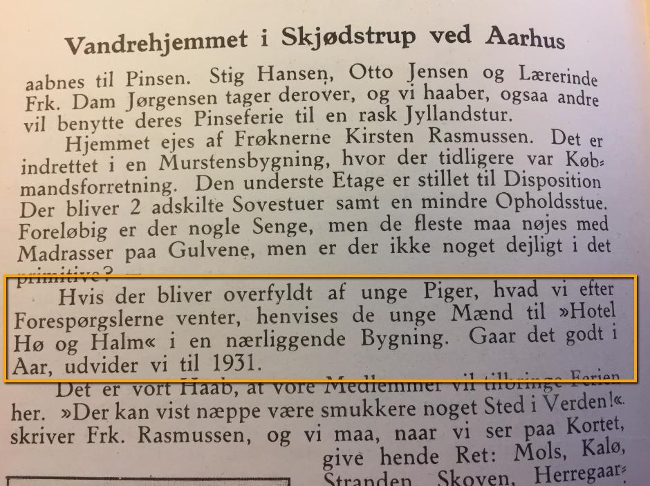 Citat fra første udgave af Dansk Vandrelaugs medlemsblad tilbage fra maj 1930.