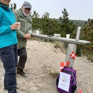 Fødselsdagsvandring i klitterne ved Husby med Nøgenbjerg som højdepunkt. Her fik vi lidt mundgodt og kaffe til at varme os på. Foto Marie Andersen
