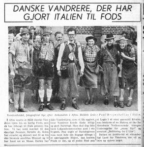 Et udsnit af vandreholdet på Aftenbladets forside den 4. juli 1938. Rita står yderst th.