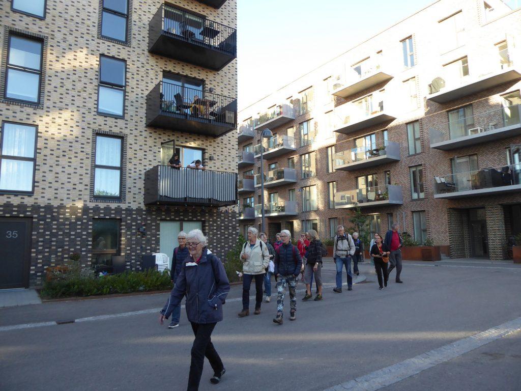 Britta Kragelund fører Seniorlauget rundt i Valby. Foto Anita Garbers