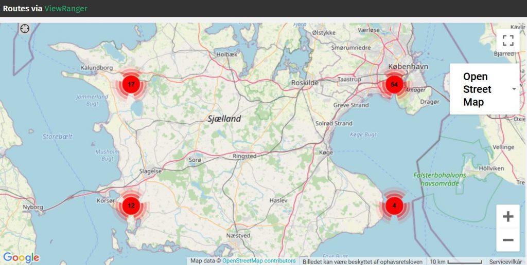 Klik på kortet og se DVL-medlemmernes anbefalede ruter