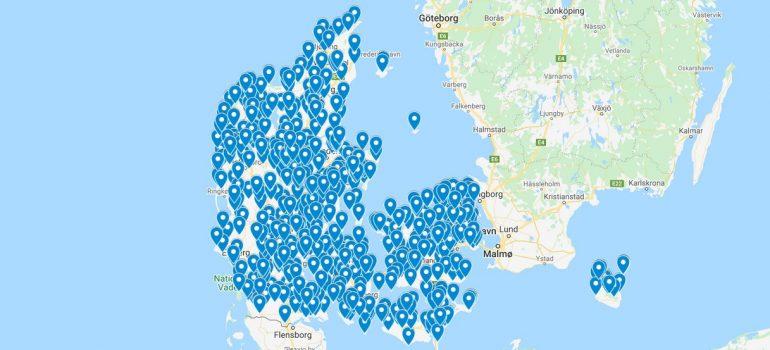 Danmarkskort med gode vandrestier