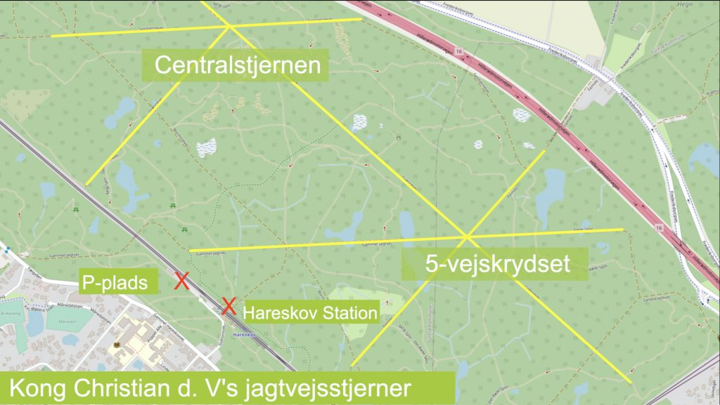 De gule veje viser parforcejagtsvejene