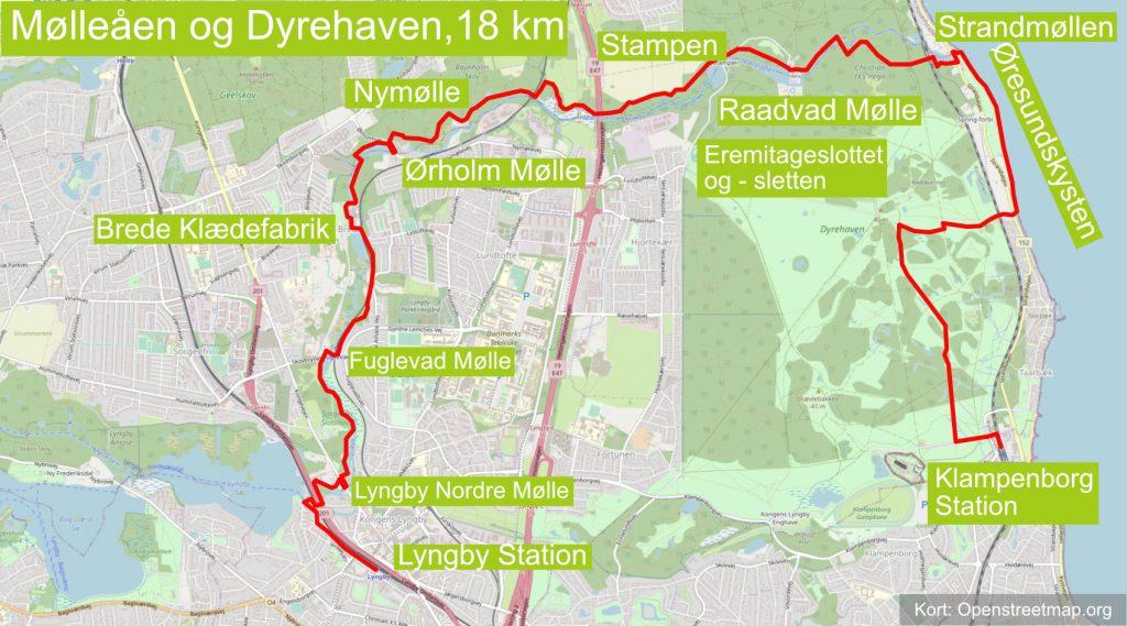 Ruten Mølleåen og Dyrehaven går fra Lyngby Station til Klampenborg Station.