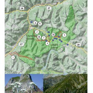 Kort over Swiss National Park.