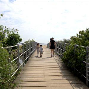 For at komme over til stranden skal man krydse en lille bro.