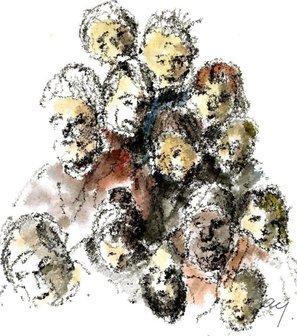 Vi holder sammen. Illustration Erik Bay