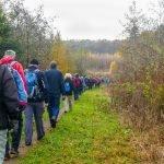 49 vandrere på Rønnebæk Fælled. Foto Karen Schmolke